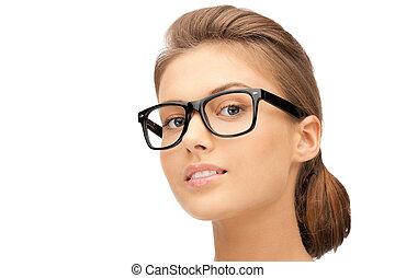 śliczny, kobieta, okular