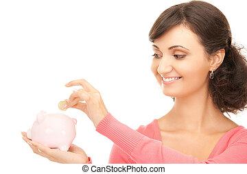 śliczny, kobieta, z, piggy bank, i, pieniądze