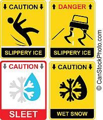 śliski, lód, deszcz ze śniegiem, -, znak