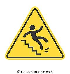 śliski, ostrzeżenie, schody