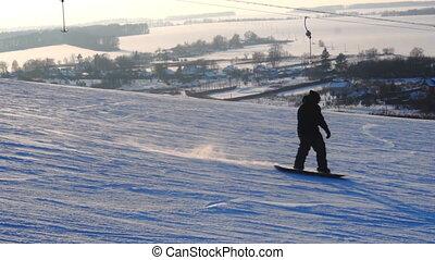 ślizga się, zima, na dół, snowboarders, uciekanie się,...