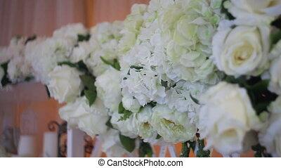 ślub, dekoracje, od, prawdziwy, kwiaty