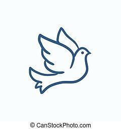 ślub, gołębica, rys, icon.