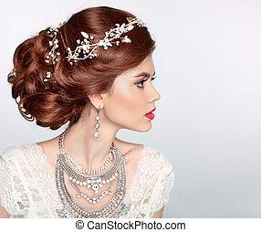 ślub, hairstyle., piękny, fason, panna młoda, dziewczyna, wzór, portrait., luksus, jewelry., pociągający, młoda kobieta, z, czerwony, hair.