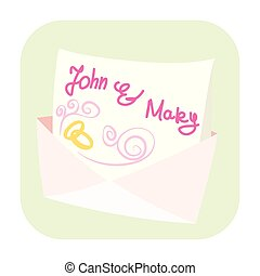 ślub, ikona, rysunek, zaproszenie