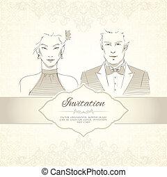 ślub, klasyczny, karta, zaproszenie