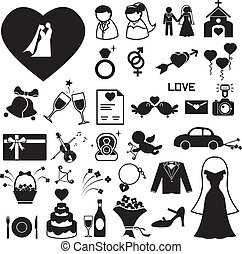 ślub, komplet, eps, ilustracja, ikony