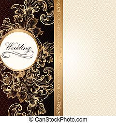 ślub, luksus, karta, zaproszenie
