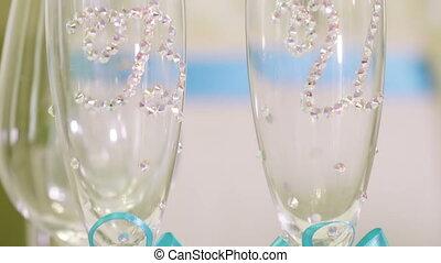 ślub, okulary, z, inicjały