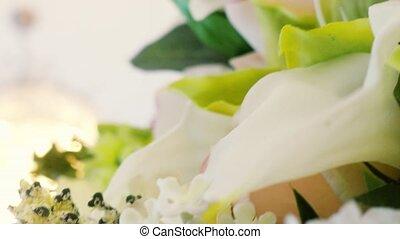 ślub, piękny, bouquet.
