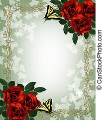 ślub, róże, motyle, zaproszenie, brzeg, czerwony