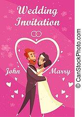 ślub, rysunek, zaproszenie
