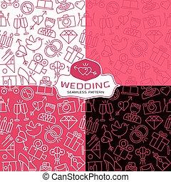ślub, seamless, wzory, w, cienka lina, styl