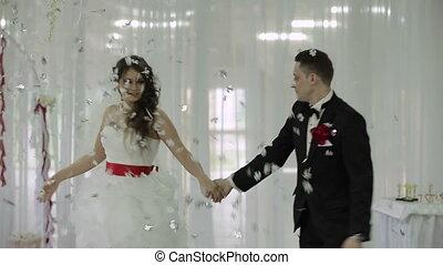 ślub, taniec, w, restaurant.
