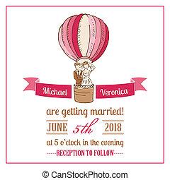 ślub, -, wektor, zaproszenie, album na wycinki, projektować, karta