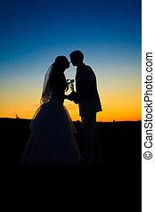 ślub, zachód słońca