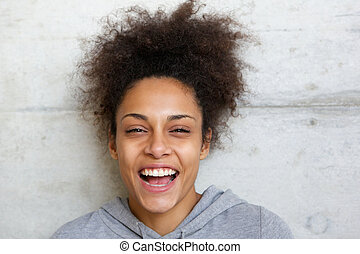 śmiech, afrykańska amerikanka, młoda kobieta