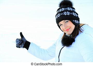 śmiech, piękny, dziewczyna, portret, w, zima czas, z, snow.