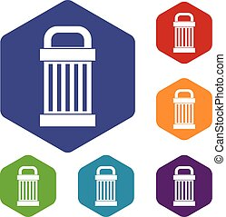 śmieci, komplet, ikony