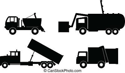 śmieciarka, ilustracja, wektor