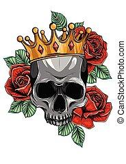 śmierć, czaszka, korona, ilustracja, róże, wektor, ludzki