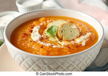 śmietanka, zupa dyni, do góry., zdrowe jadło, zamknięcie