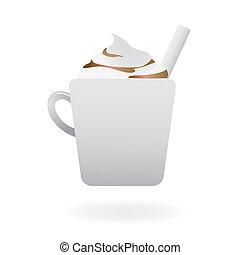 śmietankowy, cappuccino, gorący