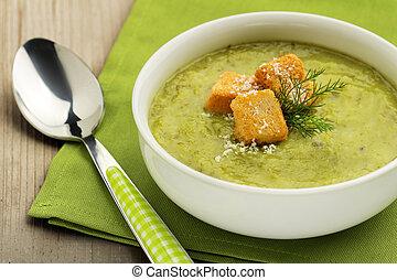 śmietankowy, zupa, roślina