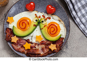 śniadanie, ślimaki, dzień, valentine