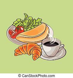 śniadanie, barwny, francuski, szablon