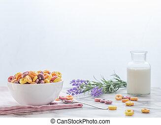 śniadanie, drink., barwny, gotowy, kasza, mleczny