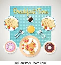 śniadanie, francuski, szablon