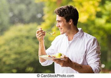 śniadanie, jedzenie, młody mężczyzna