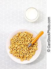 śniadanie, milk-, zboże, nad