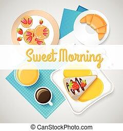 śniadanie, pojęcie, francuski