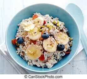 śniadanie, puchar owocu, zboże, wieńczony