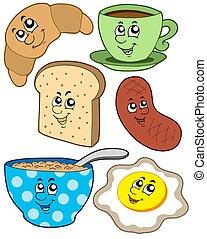 śniadanie, rysunek, zbiór