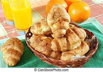 śniadanie, słoneczny, rano