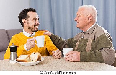 śniadanie, syn, ojciec, starszy