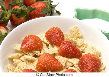śniadanie, truskawki, mleczny, zboże