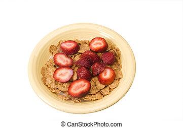 śniadanie, truskawki, zboże
