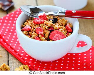 śniadanie, zasuszony, zboże, owoce