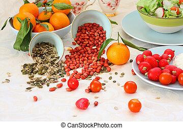śniadanie, zdrowy, stół, wegetarianin