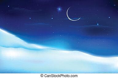 śnieżny, krajobraz, noc