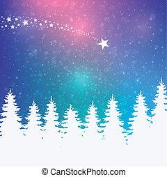 śnieżny, tło, zima, barwny