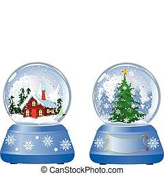 śnieg, boże narodzenie, kule, dwa