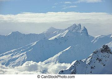 śnieg, góra, zachód słońca