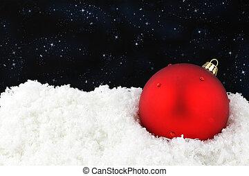 śnieg, gwiazdkowa piłka, czerwony