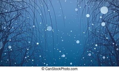 śnieg, hd, loop., drzewa