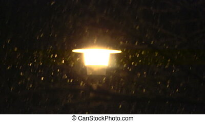 śnieg, uliczne światło, powolny, mo